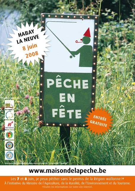 Affiche de la Fête de la Pêche à Habay-la-Neuve le 8 juin 2008