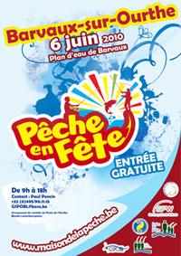 Affiche de promotion de pêche en fête 2010 à Barvaux-sur-Ourthe