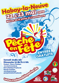 Affiche de promotion de pêche en fête 2010 à Habay-la-Neuve