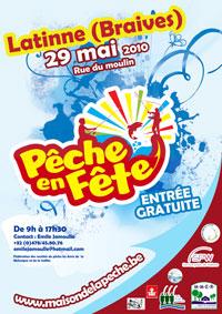 Affiche de promotion de pêche en fête 2010 à Latinne