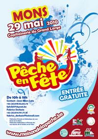 Affiche de promotion de pêche en fête 2010 à Mons
