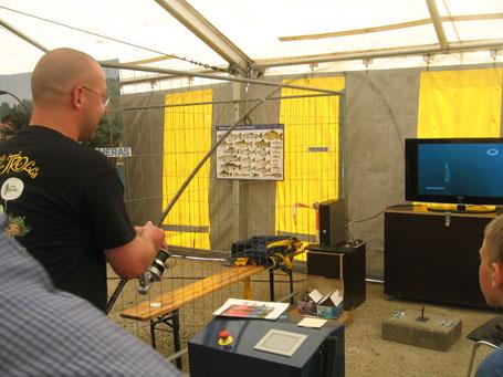 Simulateur de pêche à l'occasion de la fête de la pêche à Blaton