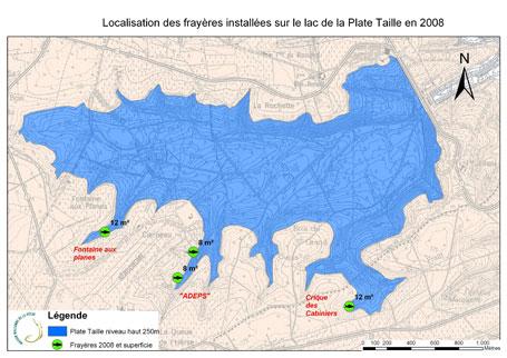 Carte de localisation des frayères artificielles flottantes sur le lac de la Plate Taille