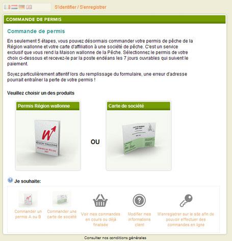 Page d'accueil du site de commande en ligne des permis de pêche et carte de société