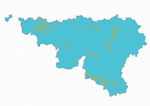 Cartographie de la zone d'eaux mixtes en Wallonie