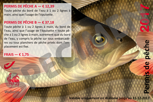 Specimen d'un permis de pêche 2017