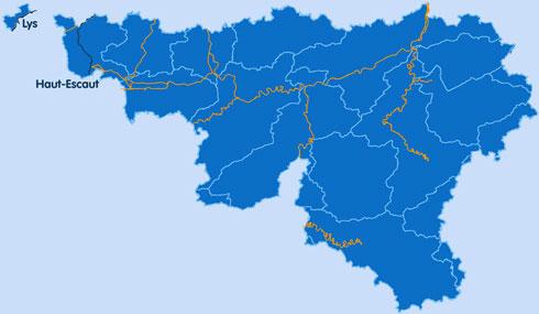 Carte des principaux cours d'eau en Région wallonne dont le Haut escaut et la Lys mitoyenne