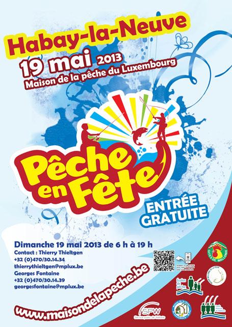 Affiche promotionnelle de l'édition 2013 de Pêche en fête à Habay-la-Neuve