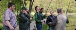 Photographie de l'atelier de pêche au lancer sur l'étang du bois des Rêves en 2008