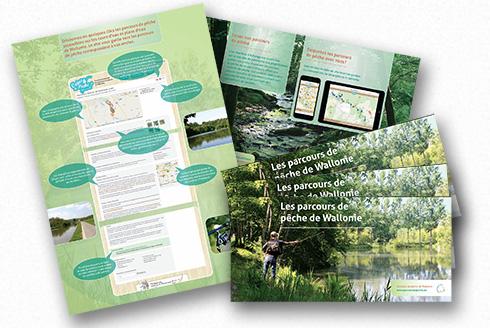 Illustration de la brochure de promotion du site des parcours de pêche de Wallonie